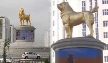 Devlet başkanı köpeğinin altın heykelini başkente dikti, ülke karıştı