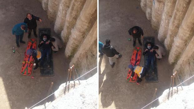 İnşaat işçisi 6 metre yükseklikten düştü